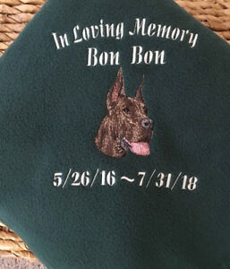 embroidered personalized akc dog breed lover pet memorial blankets