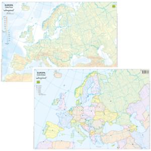 Cartina Sardegna Muta.Europa Cartina Da Banco Muta Bifacciale A3 29 7x42 Cm Carta Mappa Belletti Ebay