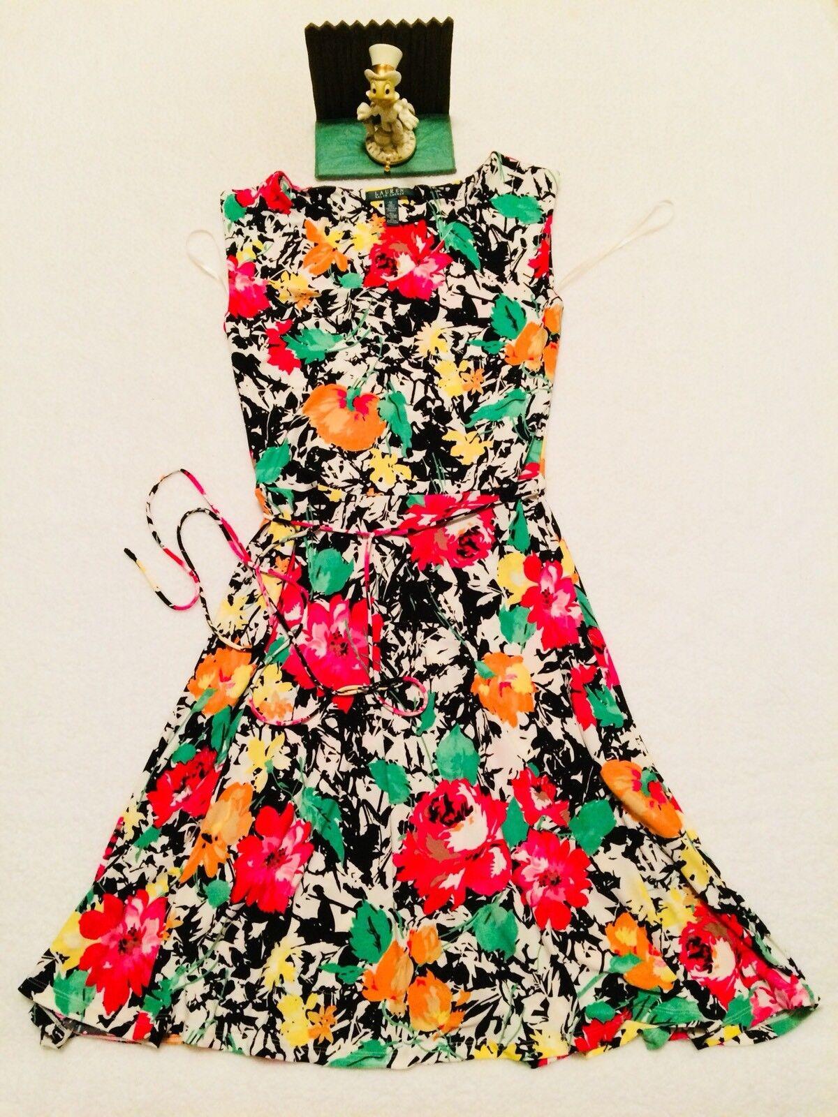 RALPH LAUREN Multi Farbe Rosa rot Grün Flower Print Cotton Sleeveless Dress M