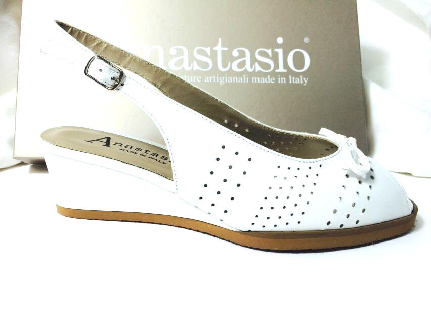 SANDALO  PELLE COLORE BIANCO  ANASTASIO CALZATURE ZEPPA H 5 100% MADE IN ITALY