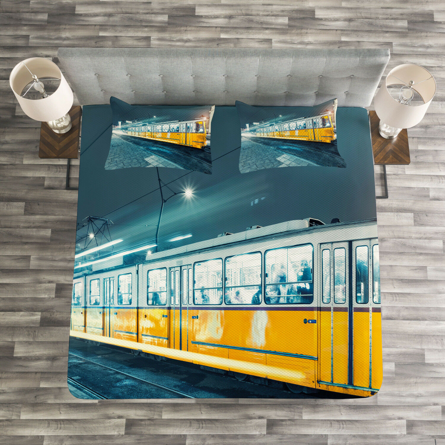 Yellow and blueeee Quilted Bedspread & Pillow Shams Set, Old Tram City Print
