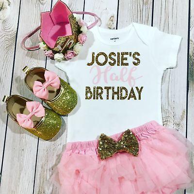 si 6 month crown 6 month birthday birthday headband 1//2 birthday girl outfit