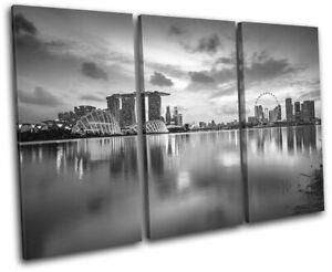 Singapore-Reflection-Night-Skyline-City-TREBLE-CANVAS-WALL-ART-Picture-Print