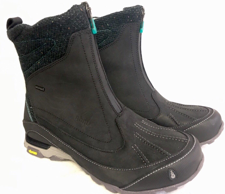Ahnu botas de cuero para mujer Pato Pato Pato WP aislado Negro Talla 7 EE. UU. Cremallera Frontal Thinsulate 4399fd