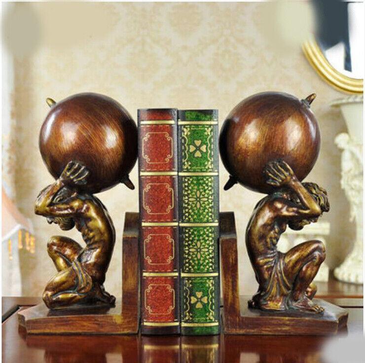 E296 2 PCS Resin Bronze Bookend Figurine Living Room Bedroom Desktop Decor Z