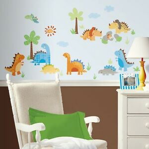 Image is loading New-DINOSAURS-WALL-DECALS-Dinosaur-Stickers-Kids-Bedroom-