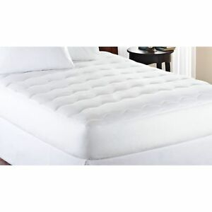 Full Size Mattress Pad Extra Thick White Padded Deep