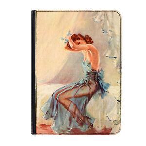 Chica-Pin-up-Azul-Camison-Afiche-Universal-17-8cm-Funda-Libro-De-Piel
