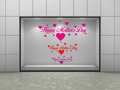 Happy Mothers Day Hearts Shop Window Sticker Retail Display Vinyl Decoration