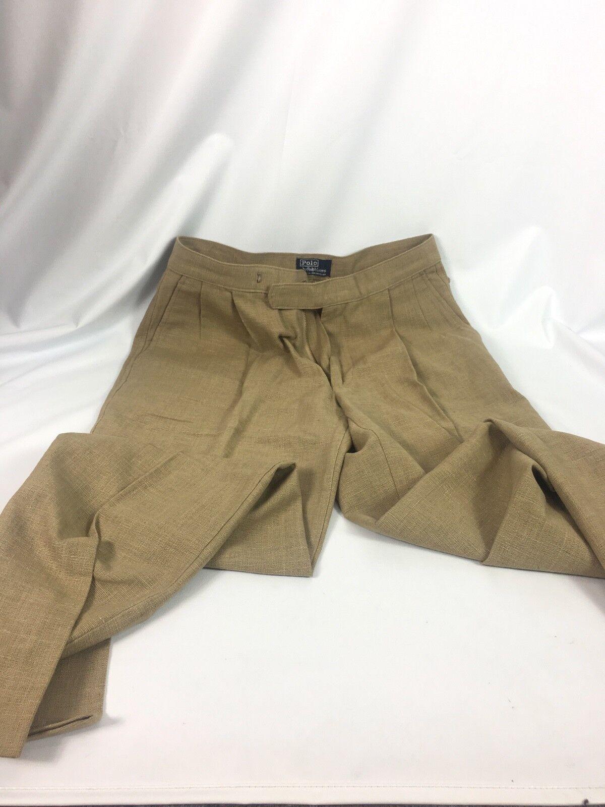 Polo Ralph Lauren  Mens Khaki Cargo Beige Linen Pants 32 x 36 USA