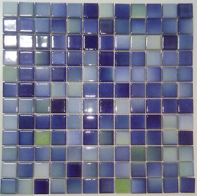 10 Matten Octa-180/_f Mosaik Fliese Keramik Octagonal weiß matt kobaltblau Bad