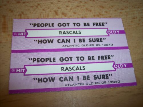 """2 Rascals People Got To Be Free Jukebox Title Strip for CD 7/"""" 45RPM Record"""