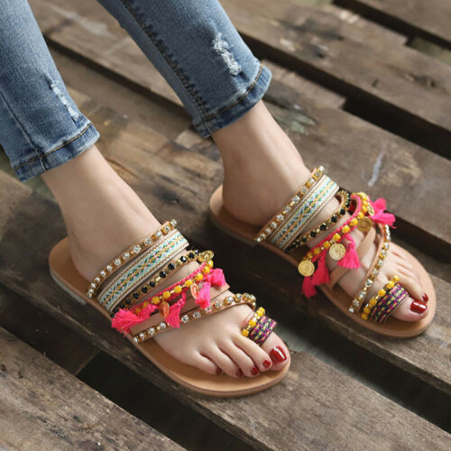 Womens Boho Tassels Sandals Beach Party Flip Flops Casual Flats Shoes Size 3.5-8