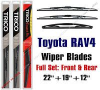 Toyota Rav4 2001-2005 Wiper Blades 3pk Standard Front + Rear 30221/30190/12a
