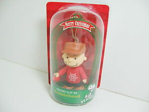 Charlie Brown Clip On Bobblehead 2013 Peanuts Merry Christmas NEW
