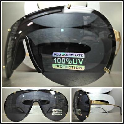 Wrap Shield Aviators Style Men Designer Fashion Luxury Gold Sunglasses Dark Lens
