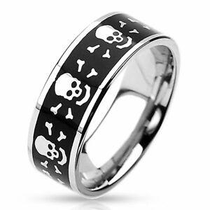 Edelstahlring Ring Totenkopf Edelstahl geschwärzt Totenkopfring G 54 Ø 17,2 mm