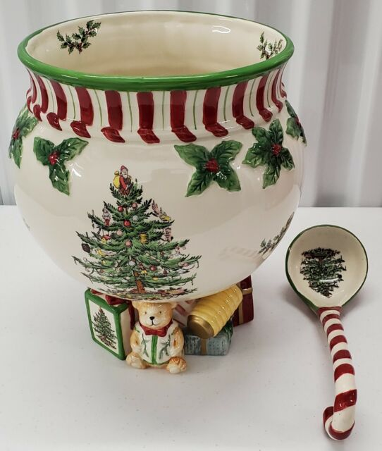 """Spode - Peppermint Footed 140oz Punch Bowl w/ 10"""" Ladle 