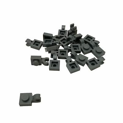 Modified 4 x 4 Clips Horizontal Dark Bluish Gray 25 NEW LEGO Plate