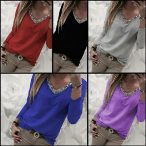 V-Neck-Pullover-T-Shirt-Jumper-Loose-Womens-Tops-Casual-Solid-Long-Sleeve