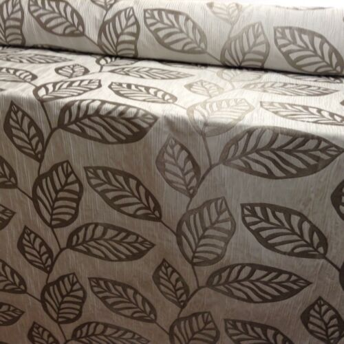 Birch Leaf Seafoam Grey Faux Silk 140cm wide Curtain//Craft//Upholstery Fabric
