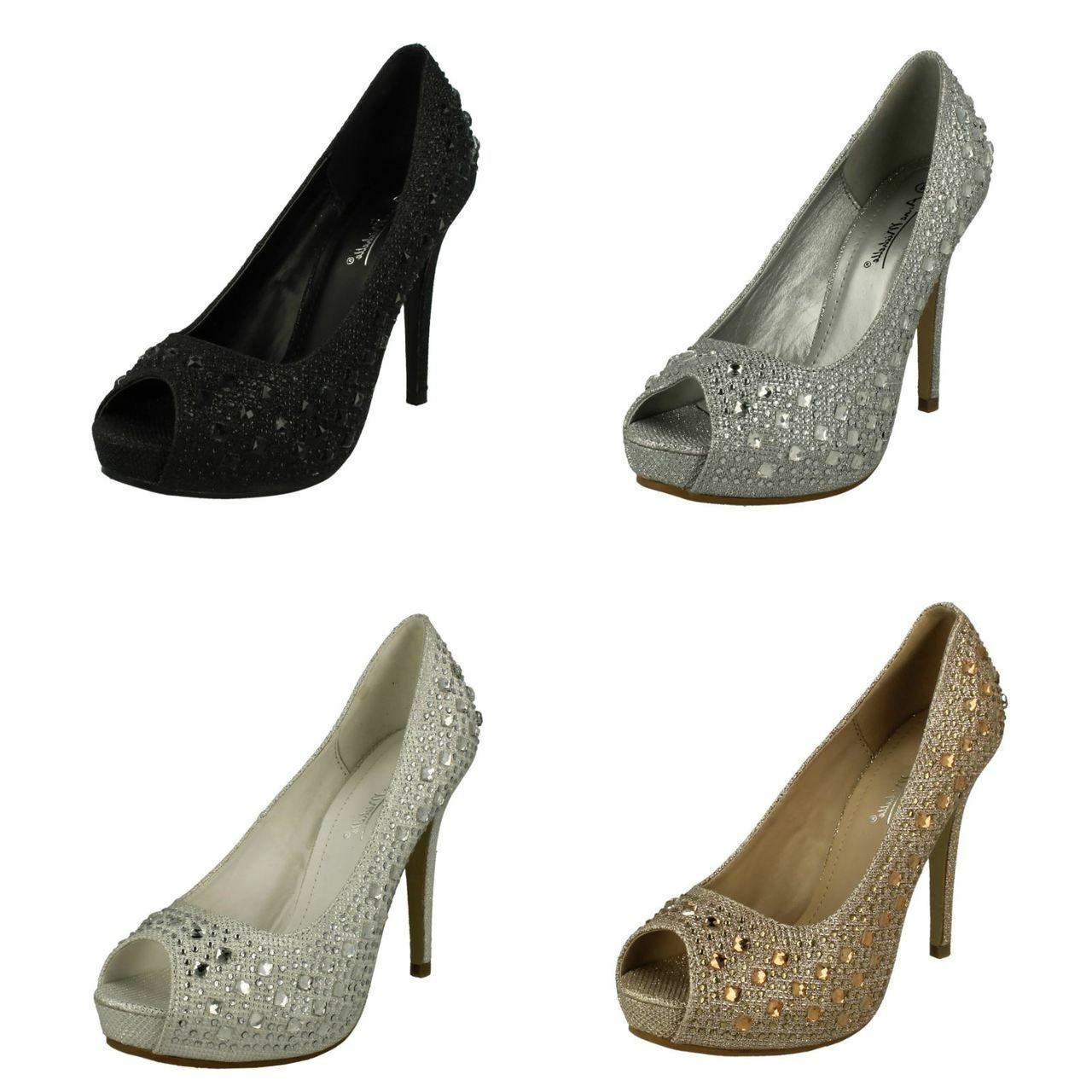 Ladies Anne Michelle Glitter Peep Toe Court Shoes Style - F10440