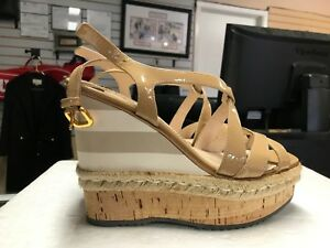 cc9c58a2a7ee Prada Beige Patent Leather Calzature Donna Cork Wedge Heels Sandals ...