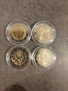 2 euro commémorative lot de 4 pièces UNC (neuve) france 2020 2019 et 2x 2018