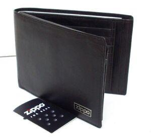 Zippo-Herren-Geldboerse-Leder-Schwarz-Geldscheinfach-8-Kartenfaecher-L51089-NEU