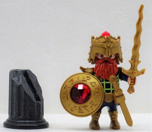 Nain Roi + magique épée + cristal bouclier rouge Playmobil Chevalier Gnome Dwarf