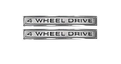 "1969 1970 1971 1972 Front Fender Emblems /""4-WHEEL DRIVE/"" Pair Chevy GMC Truck"
