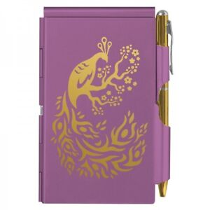 WELLSPRING TEAL PEACOCK FLORAL ALUMINUM FLIP NOTE CASE PAD WITH PEN #8502