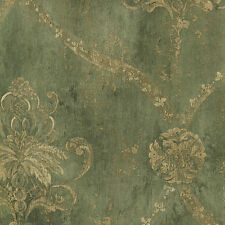 "12""/31cm Wallpaper SAMPLE Green & Pale Tan Weathered Damask"