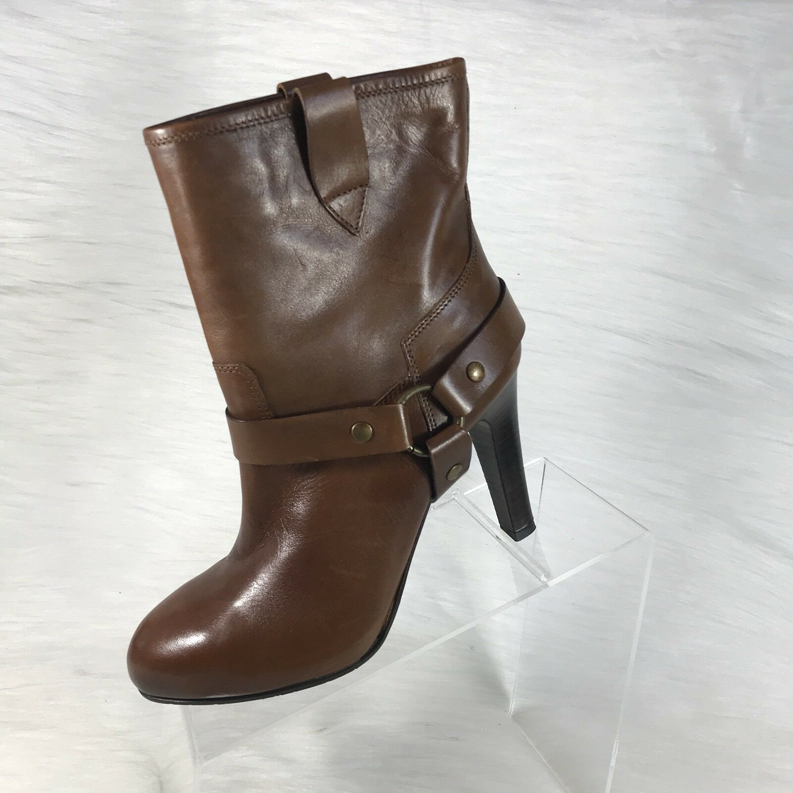 Progetto Women's Ankle Boots Brown Leather Heels Straps Detail Size 38 US 8