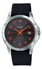 Casio MTP-V008B-1B Men's Standard Military Fabric Band Black Dial Date Watch