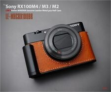 LIM'S Leather Camera Half Case Metal Grip for Sony RX100M5 RX100M4 RX100M3 Brown