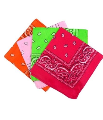 Pack Of 4 Paisley Design Bandanas Hot Pink Baby Pink Green Orange BEST DEAL