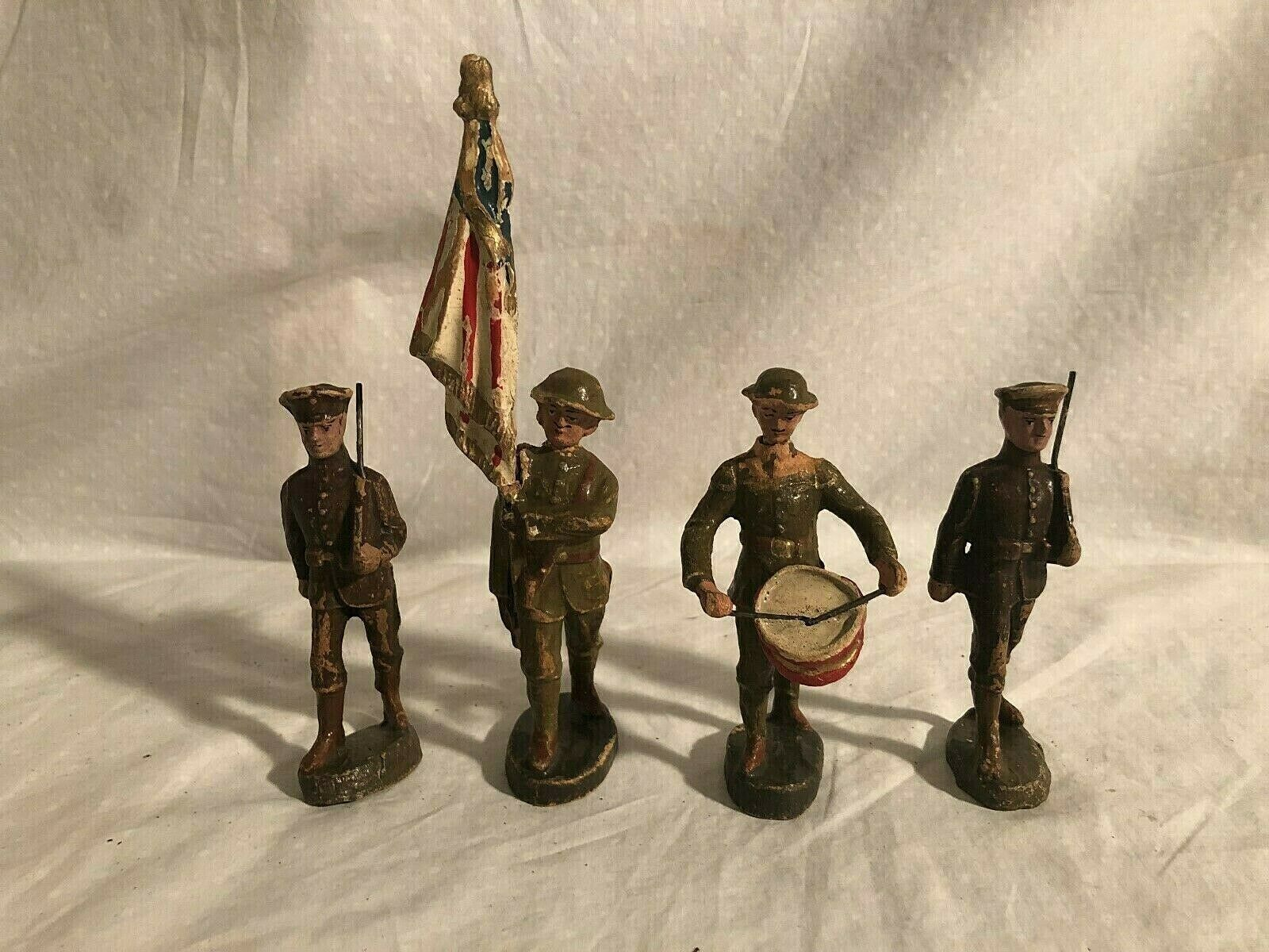 Elastolin Hausser Large Size 10cm Soldiers Lot Of 4 Germany Pre War 1930s