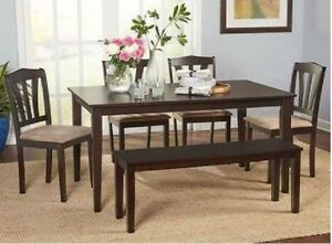 Details about 6 Piece Dining Table Set Small Dinette Kitchen Bench Chairs  Wood Furniture Brown