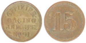 Wertmarke zu 15 ohne Jahr Oldenburg,Offizier-Casino Inf Reg no 91 fast vz 58227