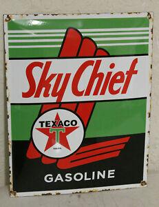 "EMBOSSED 12/""X 8/"" METAL SIGN  30x20cm GARAGE// MAN CAVE TEXACO SKY CHIEF GASOLINE"