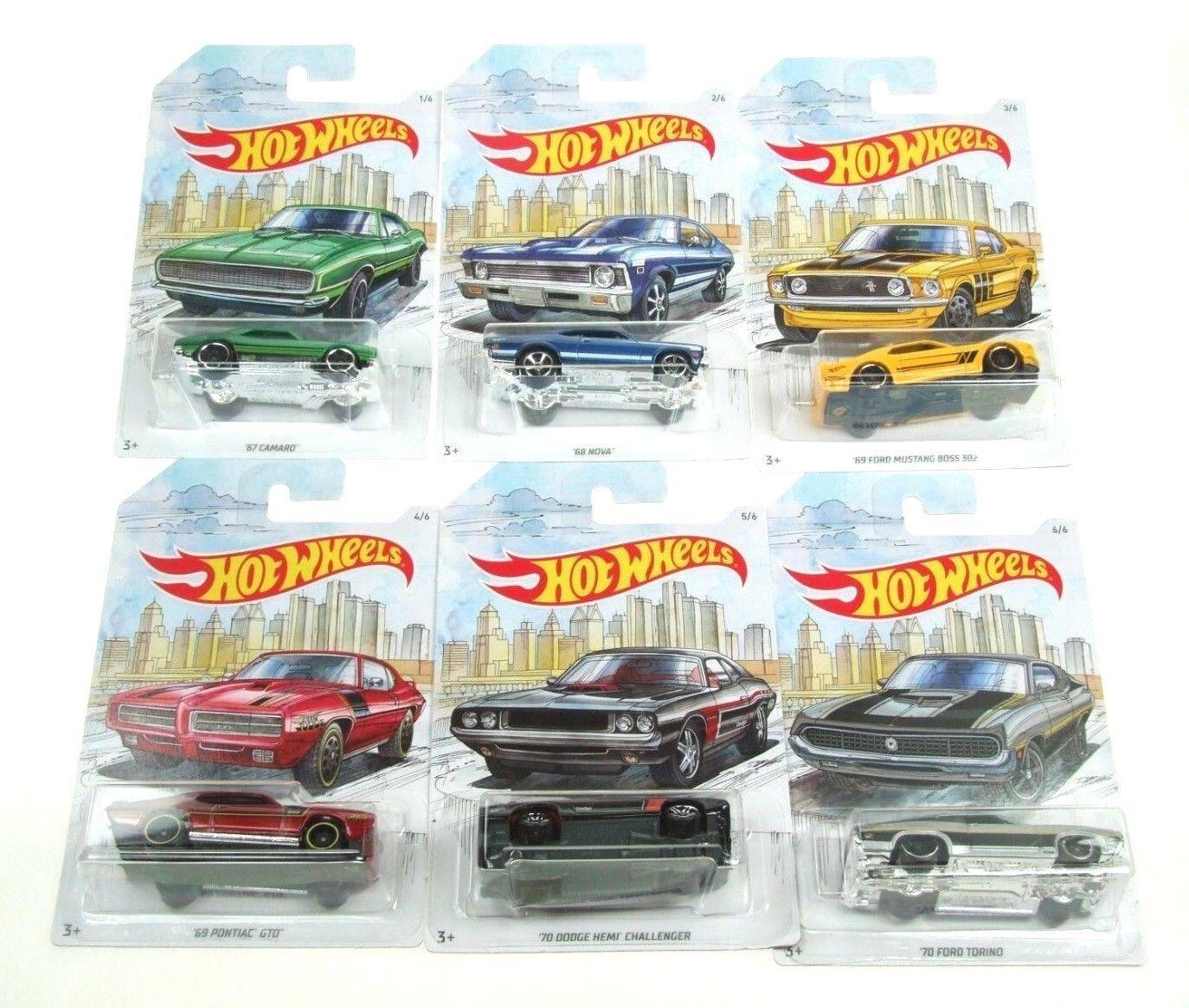 Hot Wheels Detroit Muscle Cars Set of 6 GDG44 Camaro Nova Ford Pontiac Dodge