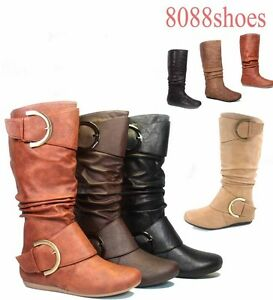 Women-039-s-Mid-Calf-Knee-High-Round-Toe-Slouch-Comfort-Casual-Flat-Boot-All-Size