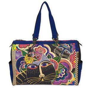 Carlotta-039-s-Cats-Laurel-Burch-Large-Canvas-Overnight-Travel-Tote-Bag-Handbag