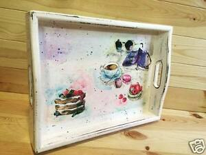 Details about Decoupage Wooden Tray , Handmade Wood tray for Breakfast ,  Wooden serving tray