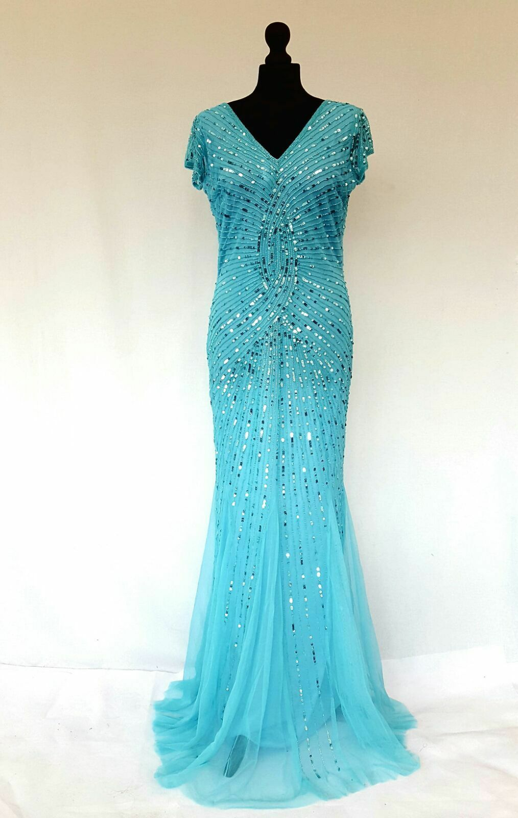 Ladies Ladies Ladies Gatsby Dress Mermaid Embellished Beaded Party Prom Evening Cruise Gown 5ae6e3