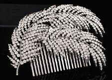 Elegante de boda nupcial Peine del pelo tres Rhinestone Hojas Casco Fascinator