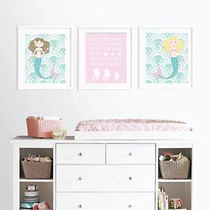 Image Is Loading Pink And Aqua Mermaid Nursery Prints Baby