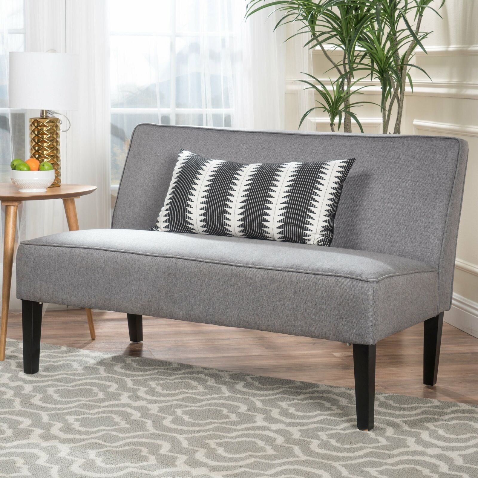 Loveseat Sofa Lounge Small Living Room Couch Fabric Love Seat Soft Modern Grey