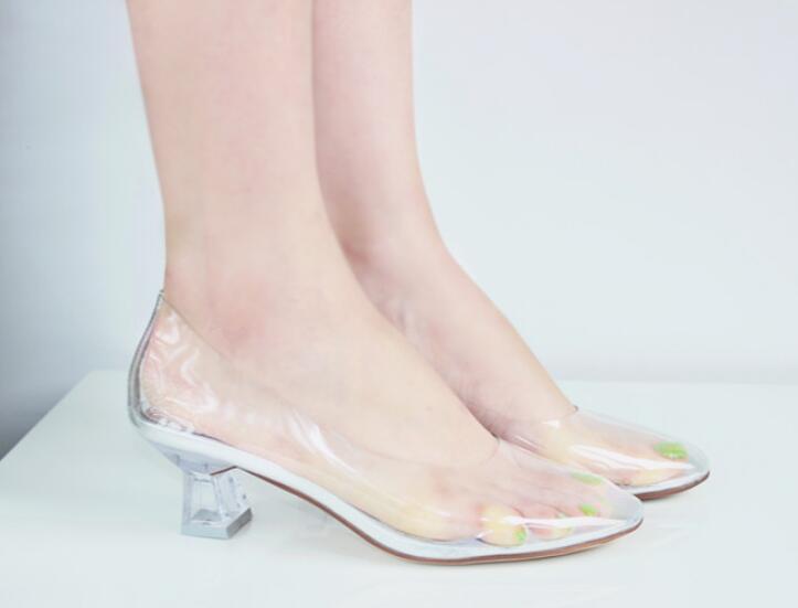 Mujer Mujer Mujer Claro Cristal Transparente En Punta Aguja Zapatos Zapatos De Salón Tacón Bajo  ¡envío gratis!